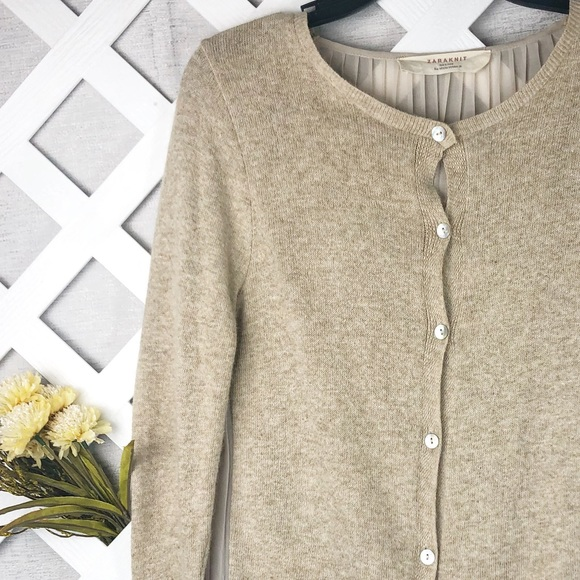 3a80e03f Zara Sweaters | Knit Cardigan With Pleated Chiffon Back | Poshmark
